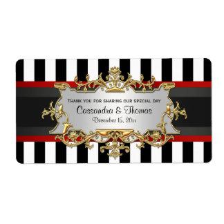 BW Stripe, Black Red Ribbon H Wine Bottle Label