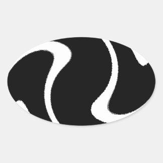 BW Striped Twirl.png Oval Sticker