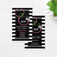 BW Stripes Modern Nurse Nursing Stethescope Business Card