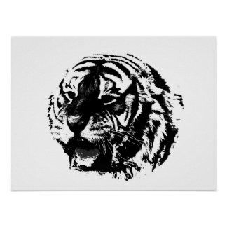 BW Tiger Poster Print Pop Art Style Tigers Posters