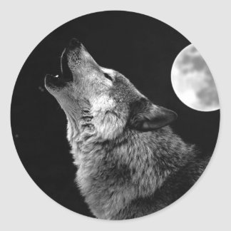 BW Wolf Howling at Moon Classic Round Sticker