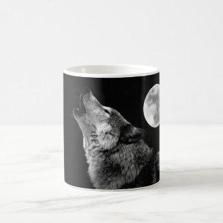 BW Wolf Howling at Moon Classic White Coffee Mug