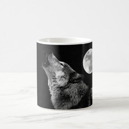 BW Wolf Howling at Moon Coffee Mug