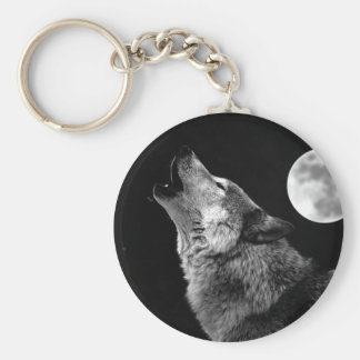 BW Wolf Howling at Moon Keychain