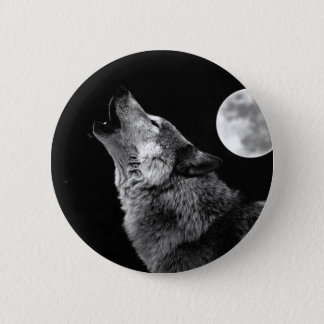 BW Wolf Howling at Moon Pinback Button