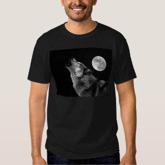 BW Wolf Howling at Moon T Shirt