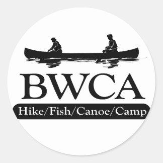 BWCA/campo de la canoa de los pescados del alza Pegatina Redonda