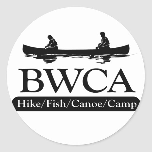 BWCA/campo de la canoa de los pescados del alza Etiquetas Redondas
