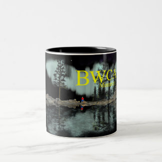 BWCA Minnesota Aurora campfire Two-Tone Coffee Mug