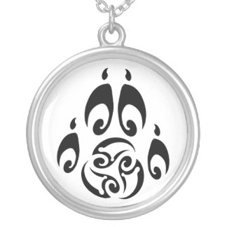 BWM - Morrigan Triskelle Wolf Paw logo Silver Plated Necklace