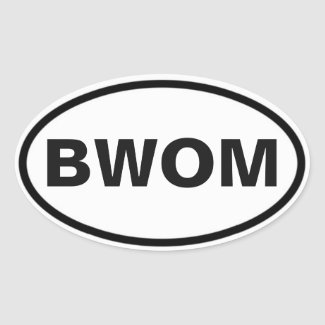 BWOM international sign Oval Sticker