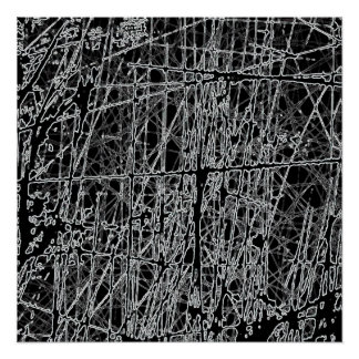 BWRG BLACK WHITE SCRATCHES REVERSE GRUNGE ABSTRACT POSTER