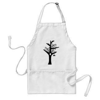 BWSWT BLACK WHITE CARTOON SPIDERS WEB TREE GRAPHIC ADULT APRON