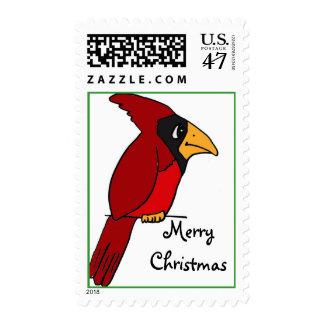 BX- Funky Cardinal Merry Christmas Postage