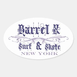 bX Surf & Skate NY Oval Sticker