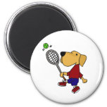 BX- Yellow Labrador Retriever Dog Playing Tennis Magnet