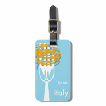 by air Italy vintage style travel poster. Bag Tag