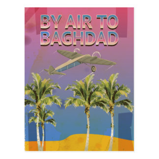 By Air To Baghdad Vintage Travel poster Postcard