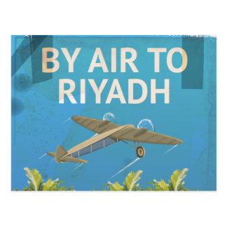 By Air To Riyadh Vintage Travel poster Postcard