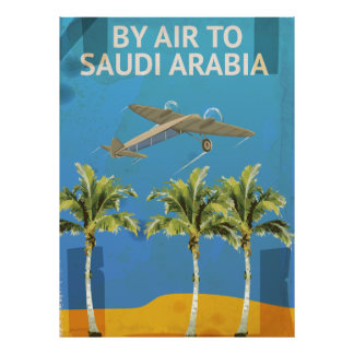 By Air To Saudi Arabia Vintage Travel poster