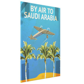 By Air To Saudi Arabia Vintage Travel poster Canvas Print
