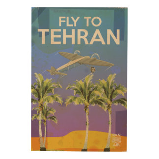 By Air To Tehran Vintage Travel poster