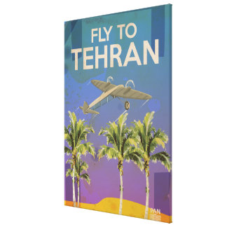 By Air To Tehran Vintage Travel poster Canvas Print