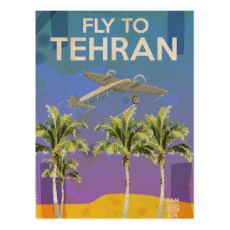 By Air To Tehran Vintage Travel poster Postcard