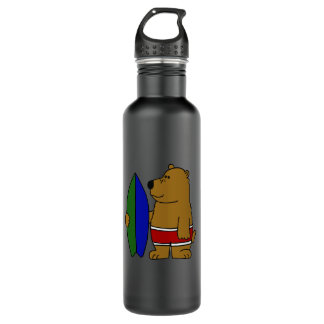 BY- Brown Bear with a Surfboard Stainless Steel Water Bottle