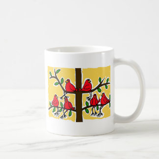 BY- Cardinal Birds in a Tree Folk Art Design Classic White Coffee Mug