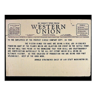By Direct Wire From Western Union Post Card