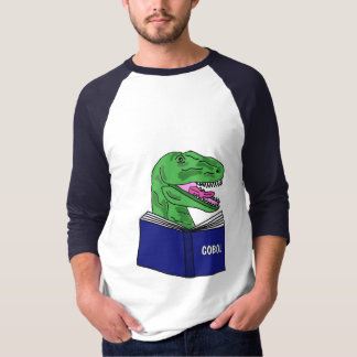 BY- Funny Dinoaur Reading COBOL Book Shirt