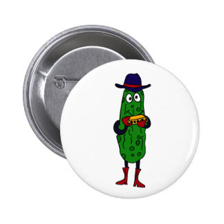 BY- Funny Pickle Playing Harmonica Cartoon Pinback Button
