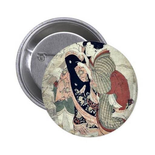 by Kitagawa, Utamaro Ukiyo-e. Pinback Buttons