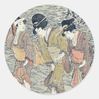 by Kitagawa, Utamaro Ukiyo-e. Classic Round Sticker