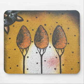 By Lori Everett_ Black Cat, Spring, Funny, Cute Mouse Pad