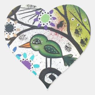 By Lori Everett_ Day Of The Dead, Black Cat, Bird Heart Sticker