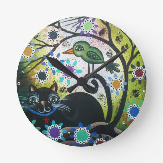 By Lori Everett_ Day Of The Dead, Black Cat, Bird Round Clock