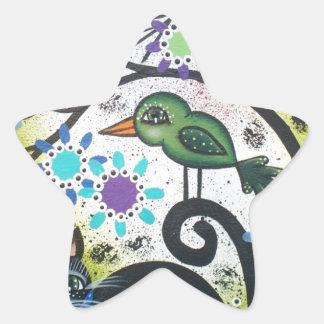 By Lori Everett_ Day Of The Dead, Black Cat, Bird Star Sticker