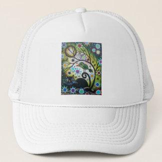 By Lori Everett_ Day Of The Dead, Black Cat, Bird Trucker Hat