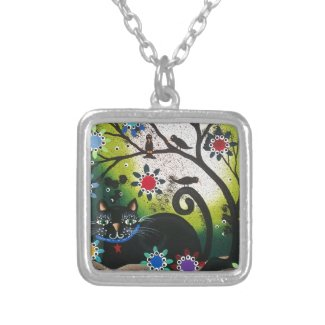 By Lori Everett_Day Of The Dead_Black Cat,Cats Custom Necklace