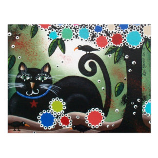 By Lori Everett_Day Of The Dead, Black Cat, Tree Postcard
