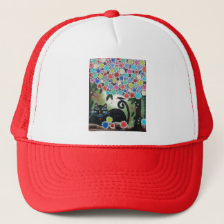 By Lori Everett_Day Of The Dead, Black Cat, Tree Trucker Hat