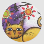 By Lori Everett_ Day Of The Dead_Mexican_Cat Classic Round Sticker