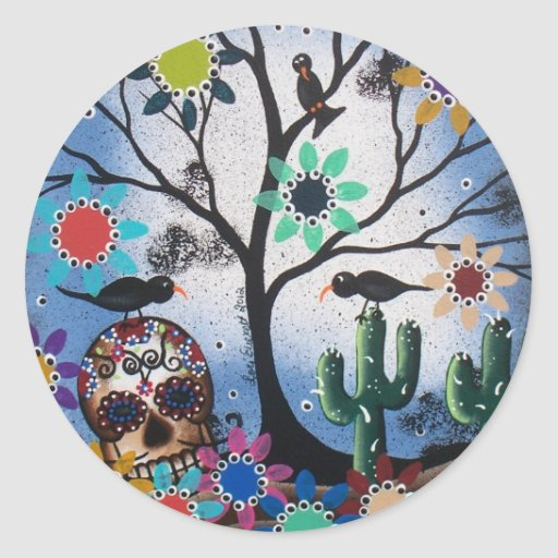 By Lori Everett_ Day Of The Dead,Mexican,Skull,DOD Classic Round Sticker
