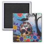 By Lori Everett_ Day Of The Dead,Mexican,Skull,DOD 2 Inch Square Magnet