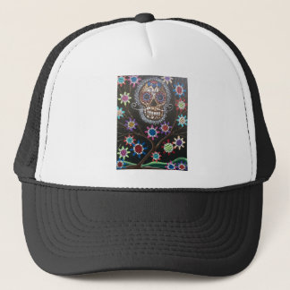 By Lori Everett_ Day Of The Dead, Mexican, Skull Trucker Hat