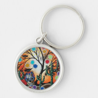 By Lori Everett_ Day Of The Dead,Skull,Mexican,DOD Silver-Colored Round Keychain
