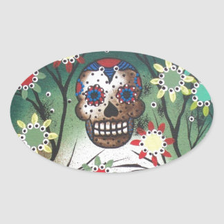 By Lori Everett_ Day Of The Dead, Skull, Mexican Oval Sticker