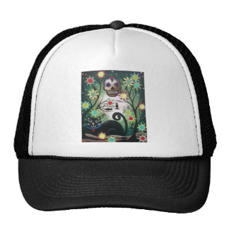 By Lori Everett_ Day Of The Dead, Skull, Mexican Trucker Hat